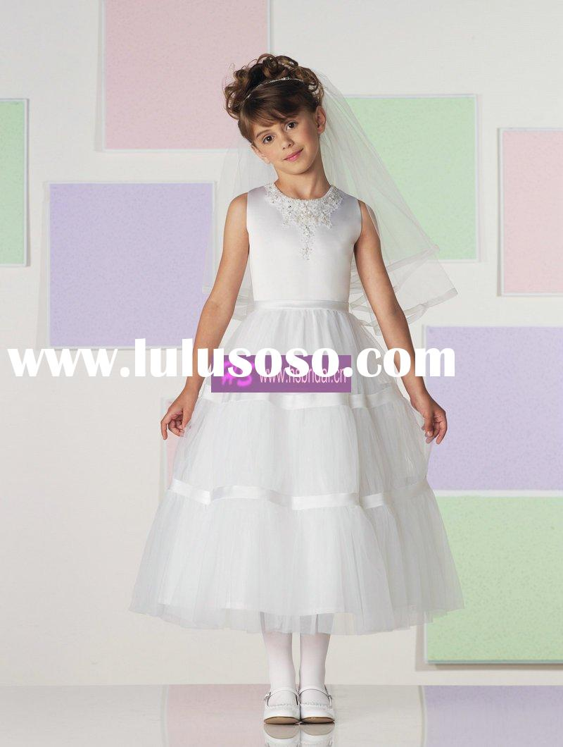 A-line Scoop Satin Tulle Girl First Communion Dress