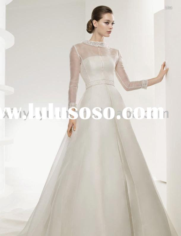 A-line classic and new designer tulle long sleeves wedding dress LSW-011