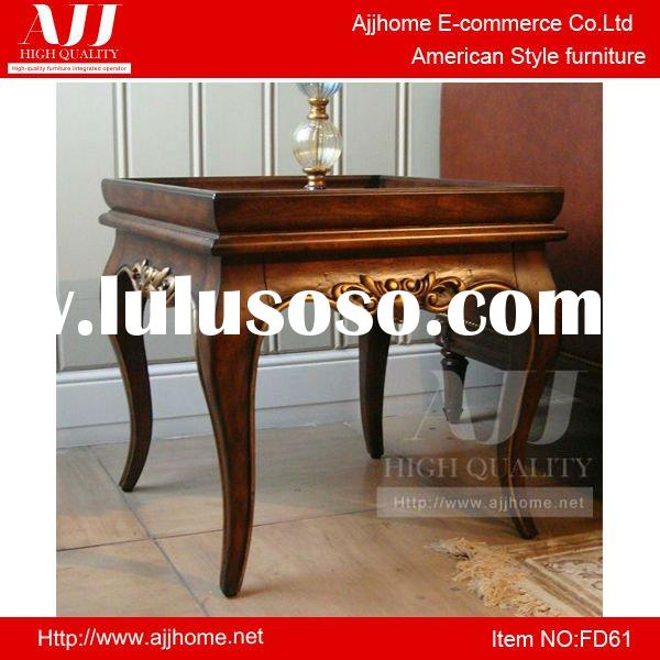American style delicate living room hand carved brown coffee table