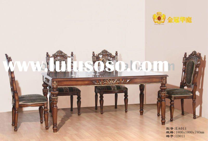 Antique European Style Solid Wood Dining Table and Chair EA011/EB011