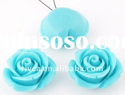 B00732A Best selling Coral/synthetic 24X14MM pendants/charms bead rose flower pendant