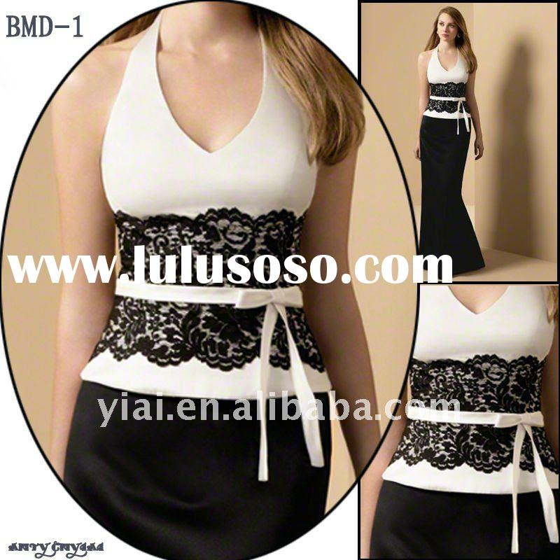 BMD-1 Free Shipping 2011 Elegant Green Ladies' Fashionable Black Lace And White Satin Belt H