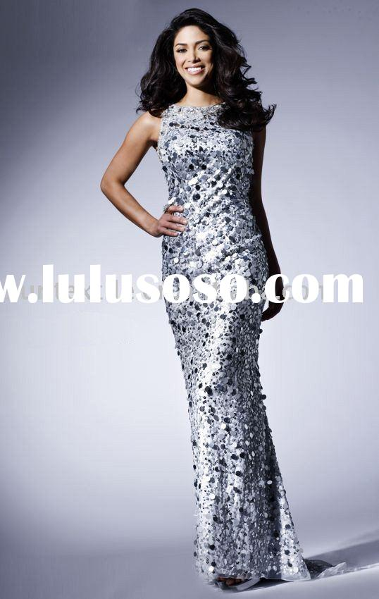 Backless Floor-Length Sequin silver pageant Dress