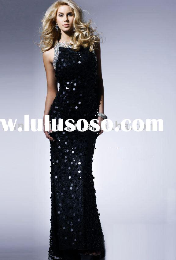 Backless Floor-Length Sequin silver pageant gown