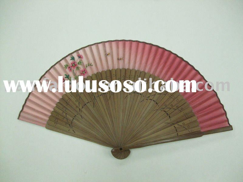 Bamboo hand painting silk fan