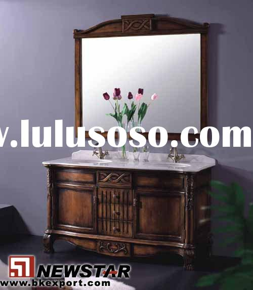 Bathroom Cabinet (Antique Design Solid Oak Wood Bathroom Furniture)