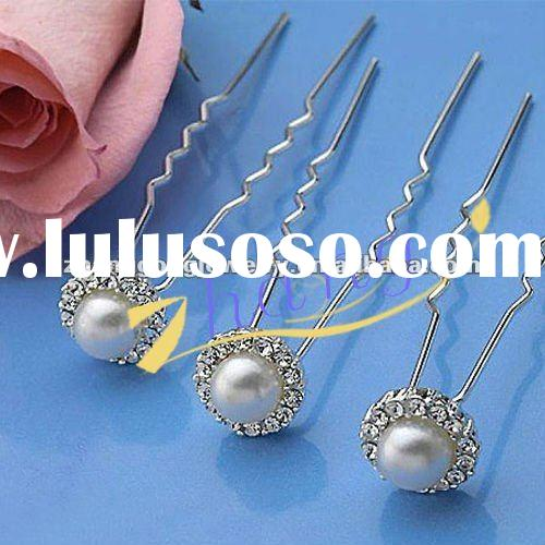 Beauty design rhinestone hair pins with pearl