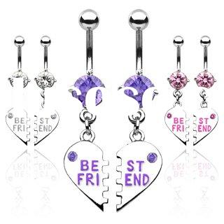 Best Friend Jeweled Dangle Steel Belly Ring,Navel Ring_Body Jewelry