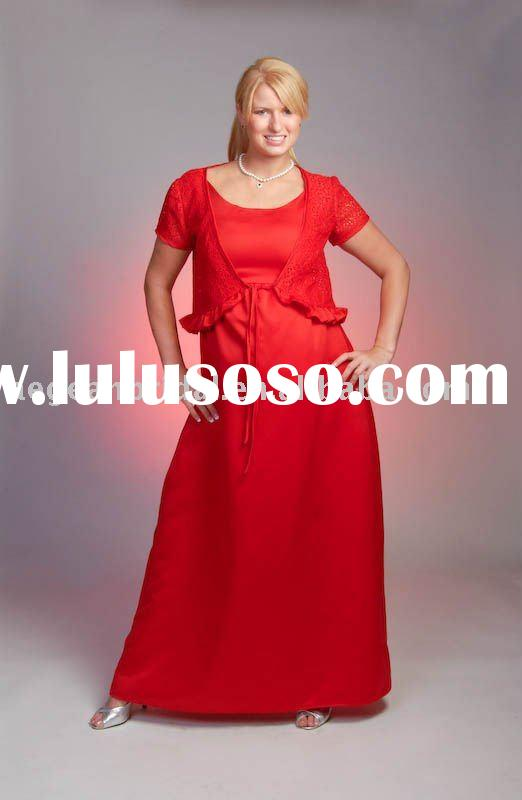 Best seller cap sleeves red lace jacket red satin maternity gown M084