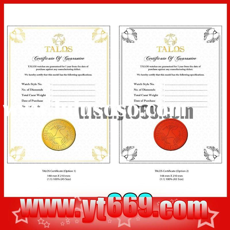 Bond paper Security Gift certificate with hologram sticker