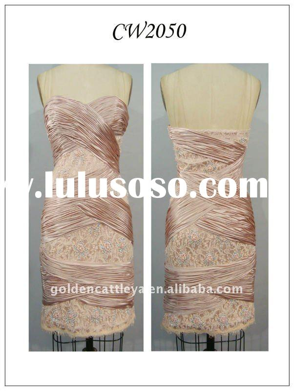 CW2050A attractive strapless beaded & pleated bandage dresses