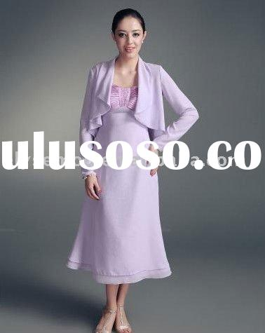 Charming Tea Length Wide Straps Lavender Chiffon Mother of the Bride Dresses Design