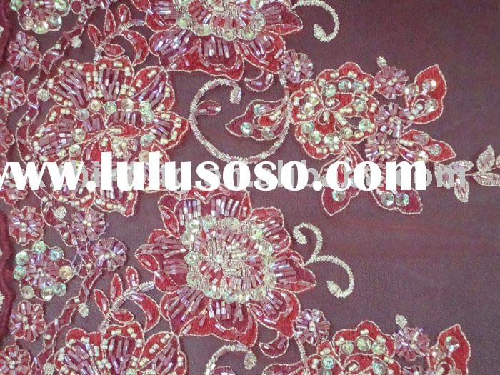 Chinese hand embroidery fabric for wedding dress