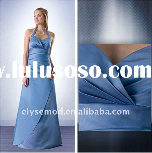 Clean and Fresh Looking Halter Pleated Baby Blue Bridesmaid New Style Dress