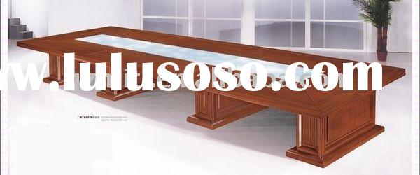 Conference table glass top conference table