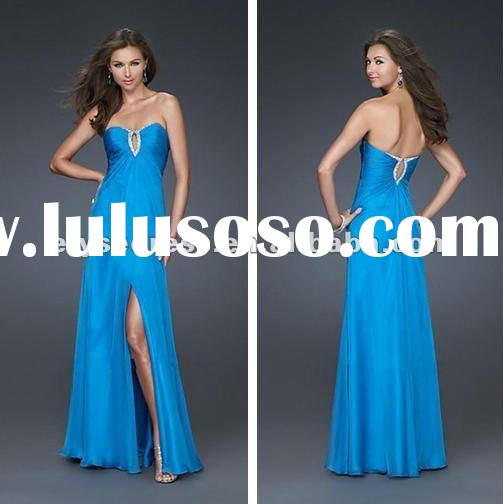 Custom Made Empire Floor Length Chiffon Beaded Blue Keyhole Christmas Maternity Prom Dresses 2012