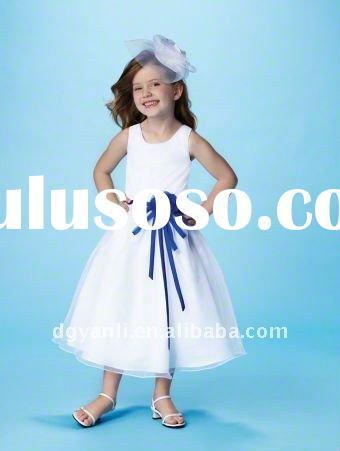 Custom-made 2011 white A-line square tulle Chiffon bowknots pleat Flower Girl Dresses 00163