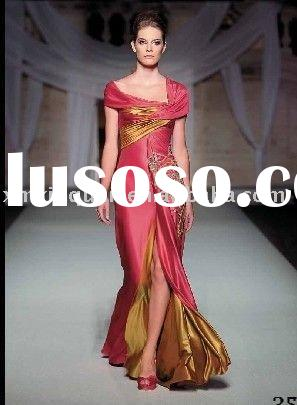 DE129 Hot sale custom made newest design short sleeve beaded pleated satin evening dress