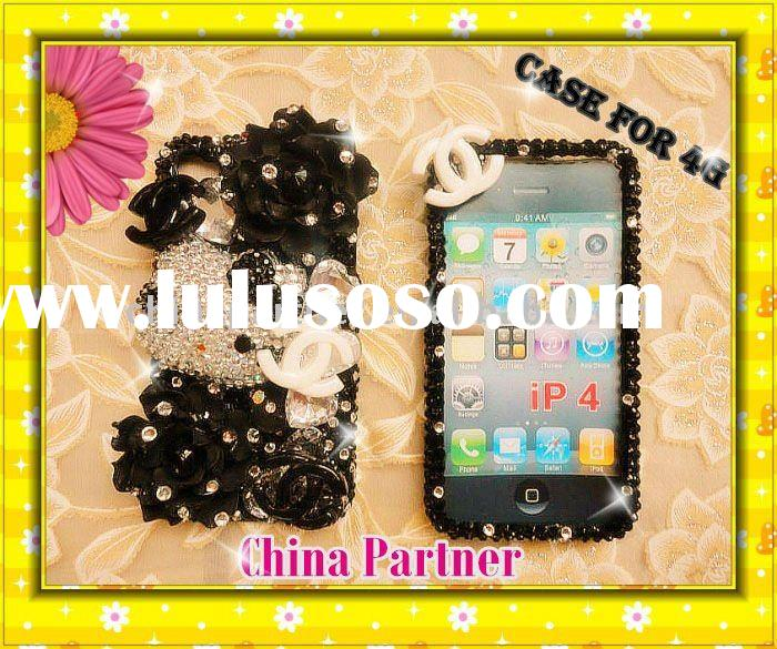 DIAMOND HELLO KITTY BLACK CRYSTAL BLING 3D CASE FOR IPHONE 4 4S