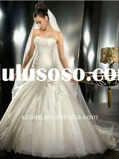 Designer ball gown strapless floor length satin wedding dress an-p-23