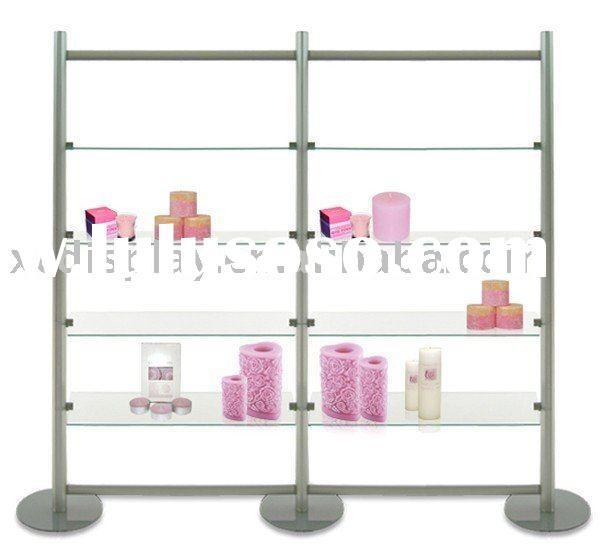 Double bay 4 tier glass display shelves
