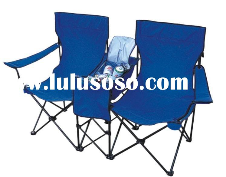Double folding chair with cooler