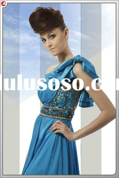 Dropshipping C80013 fashion party dress blue one-shoulder ruffles beadding lace court train