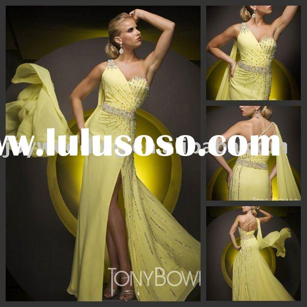 EG0805 Tony Bowls yellow one shoulder evening gown