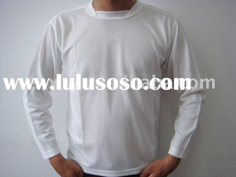 Eco friendly Cooldry 160gsm 100%recycle pet long sleeve Adult t shirt