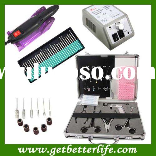 Electric Nail Manicure Pedicure Drill File Tool + Body Piercing Kit