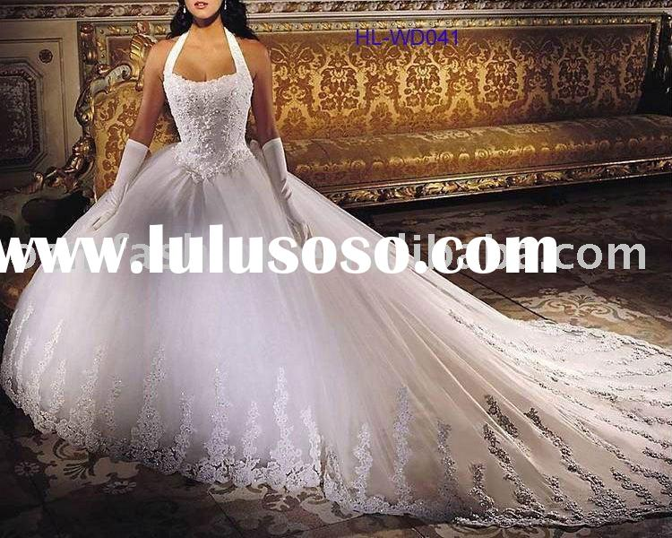 Empire Ball Gown Long train Bridal Wedding Dress HL-WD041