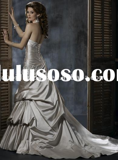 Exclusive ball gown halter top neck sweep satin wedding dress