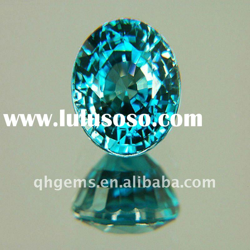 Fancy aquamarine oval cut cubic zirconia loose stone