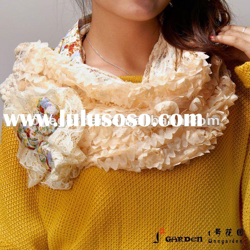 Fashion Floral Printed Ladies Cotton Lace Scarf