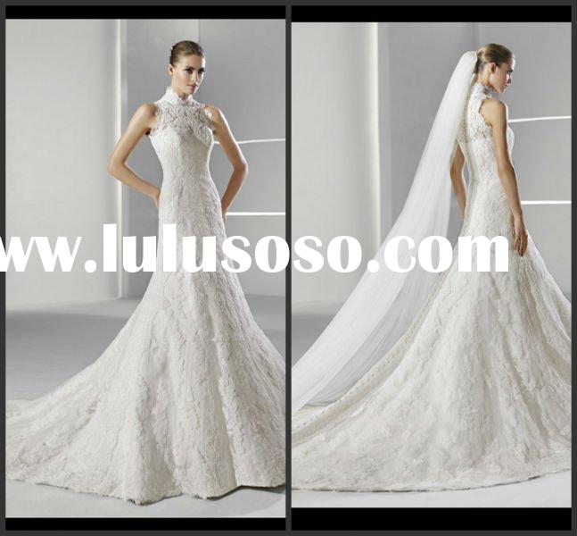 Fashion Hot Sell A-line Floor-length Lace Wedding Dress 2012