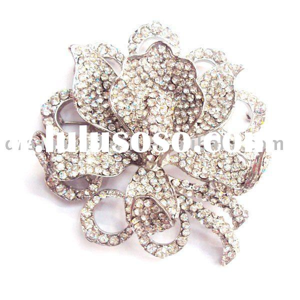 Fashion Jewelry Alloy Crystal Rose Brooch pin