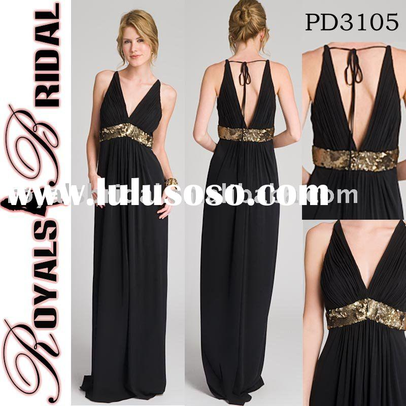 Fashion Strap Style Black Chiffon Evening Dress