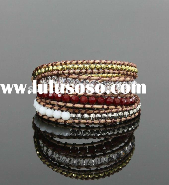 Fashion Wholesale Crystal Genuine Leather Wrap Bracelet