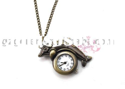 Fashion antique brass dolphin animal pendant metal pocket watch