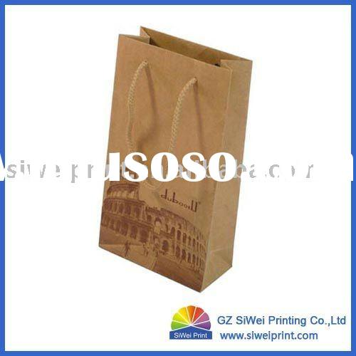 Fashionable Brown Kraft Paper Bag for Wine Packaging