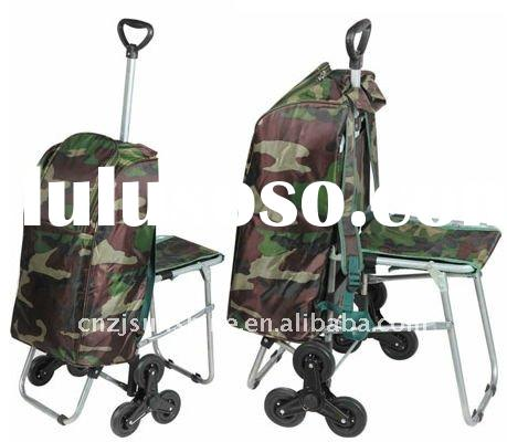 Folding trolley shopping cart with seat