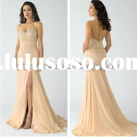 For Her Latest Design A line Strapless Chiffon Champagne evening dress fashion 2012