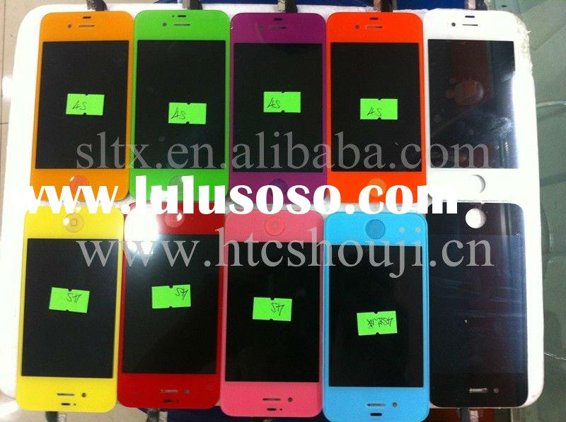 For iphone 4S 4GS LCD Touch Screen + Back Cover Glass+Home Button Full Color Conversion Kit