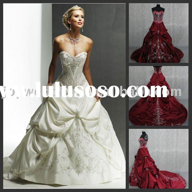 Free shipping Real samples Popular lady garment new red embroidery bridal gown W2222