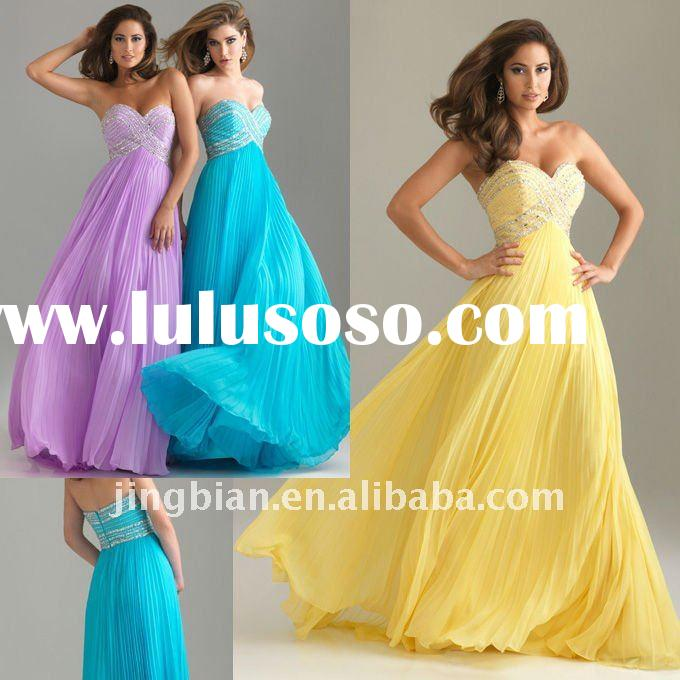 Full accordion pleated skirt 2012 Designer Formal Yellow Evening Party Dress on Sale ED587