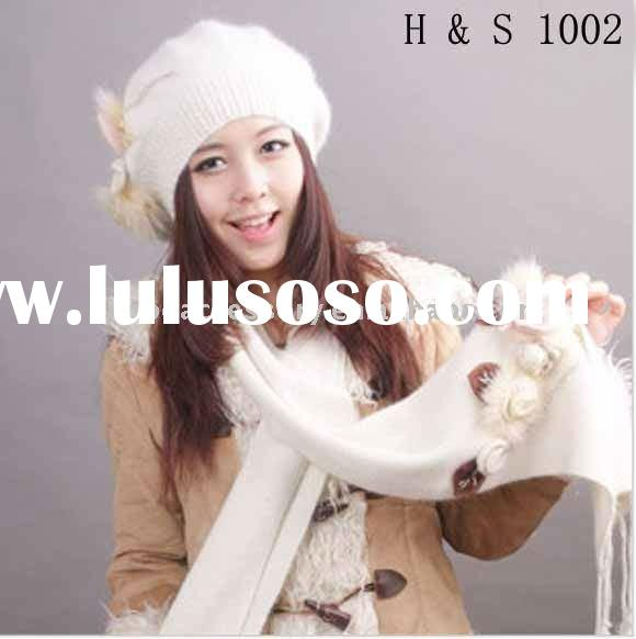 Girls fashion Real rabbit fur hat and scarf