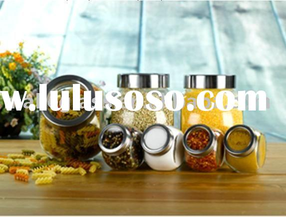 Glass jar for food storage with stainless metal lid