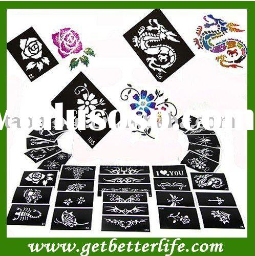 Glitter Tattoo stencil design for Body art Painting, 50 sheets, Mixed Designs