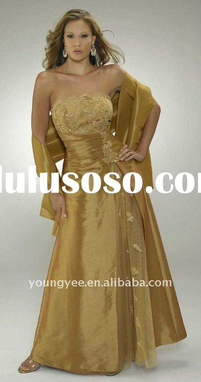 Gold taffeta mother of the bride lace dresses jacket 2011(BM10081)