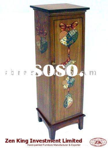 Hand Painted Folk Art Wooden Media Cabinet